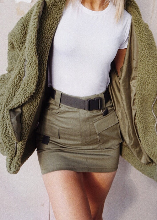 ON SAFARI MINI SKIRT - OLIVE
