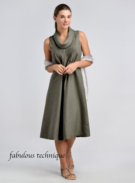A cowl neck linen sleeveless dress
