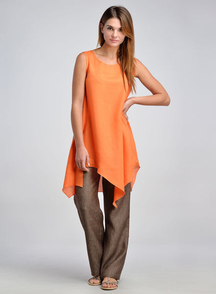 Orange linen long tunic