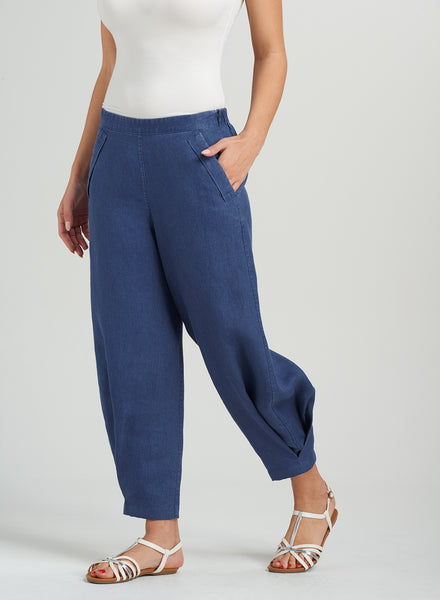 Linen loose fitting ankle length pants