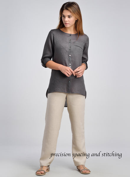 Scooped neck linen top with shirttail design
