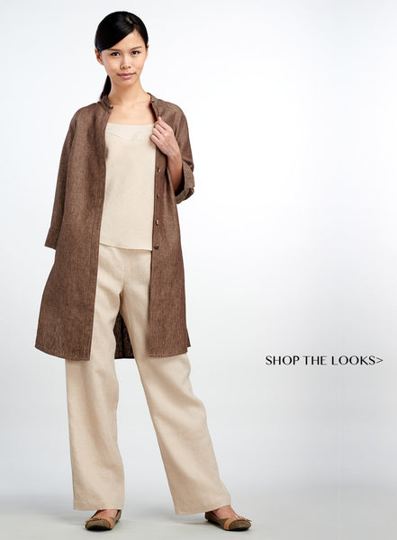 Standing collar long linen blazer