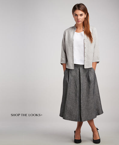 Two tone linen cropped jacket