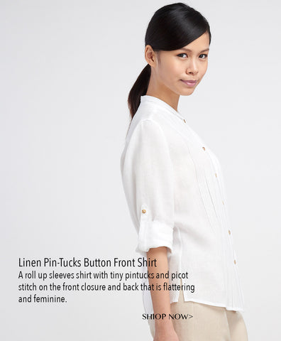 Linen mandarin collar long sleeves shirt