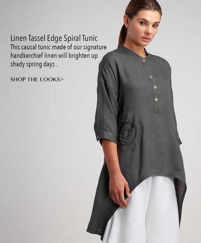 Handkerchief linen tunic with hand made details
