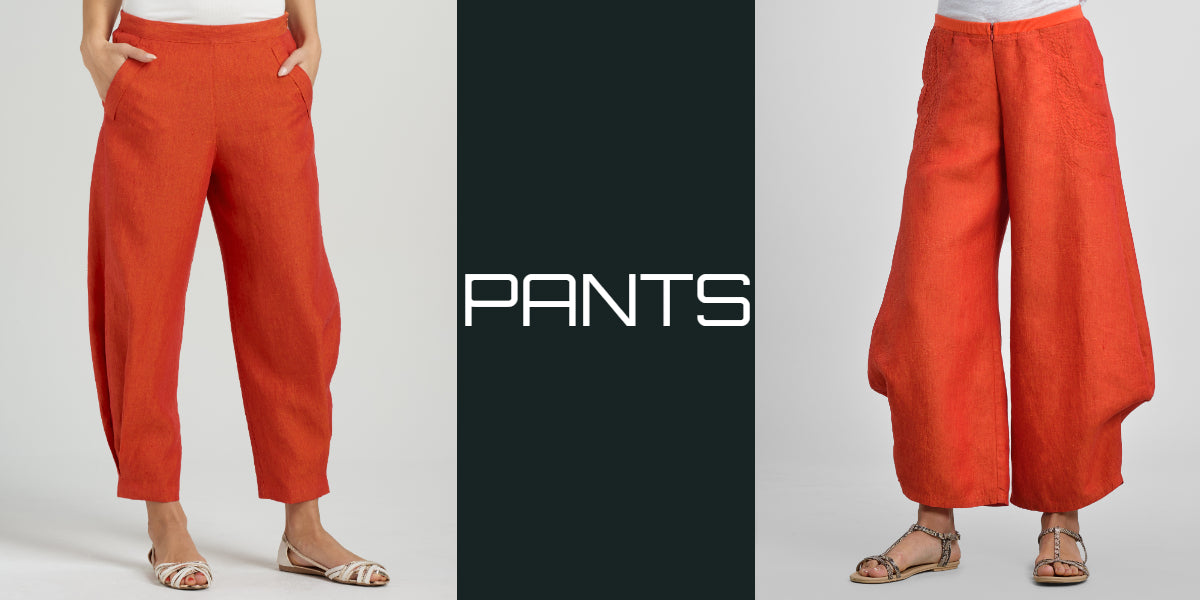 women linen pants in plus size with elastic waistband