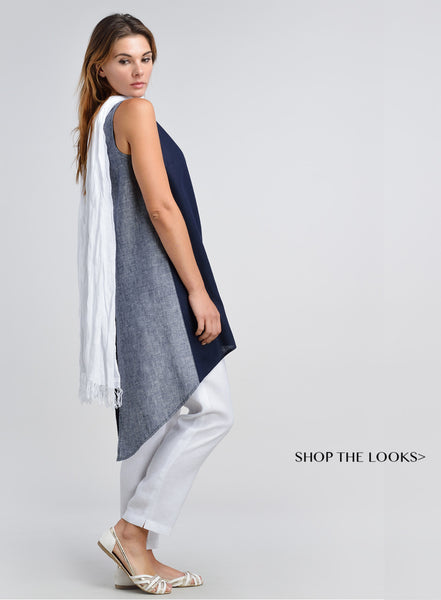 Linen Sleeveless Tunic with contrasting color