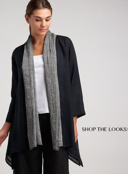 Linen duster cardigan with scarf