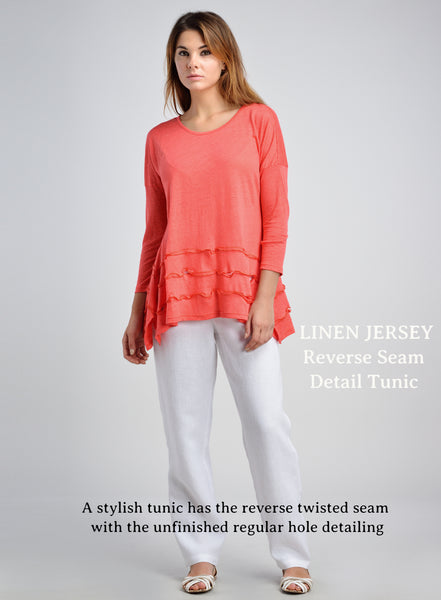 Uneven hemline linen jersey pull-over top