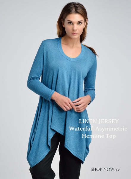 Linen jersey scooped neck slip-on top