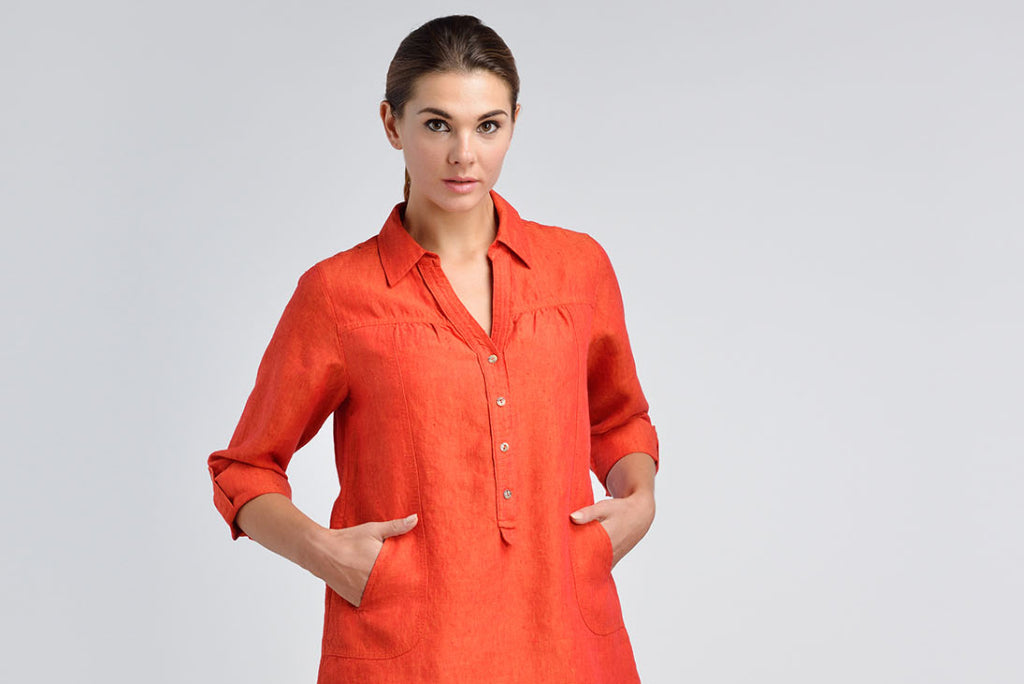 Linen tunic with pointed collar