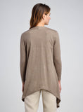 Linen Jersey Waterfall Asymmetric Hemline Top