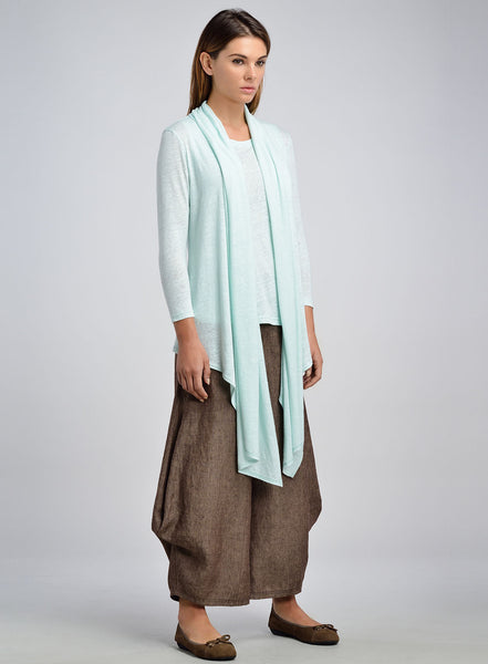 Linen Jersey Scarf Layering Topcoat