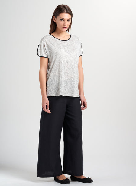 Linen Cross Panel Raglan Sleeves Top