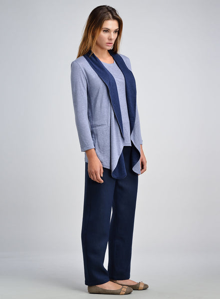 Linen Jersey Contrast Shawl Collar Topcoat