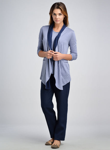 Linen Jersey Roll Up Sleeve Waterfall Topcoat