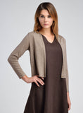 Linen cropped jacket in brown