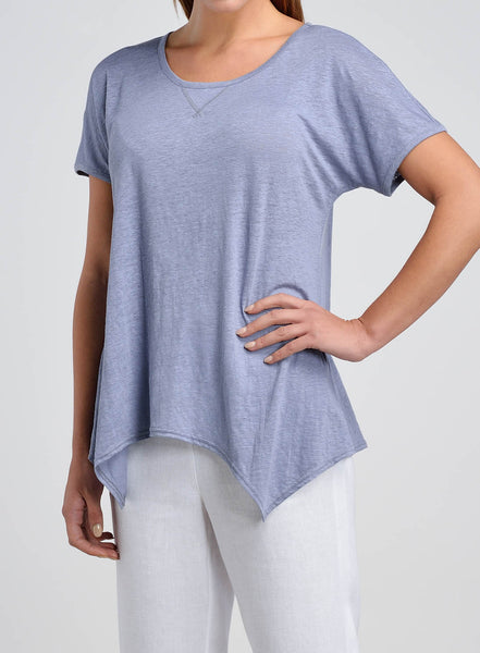 Linen tee with shark bit hem