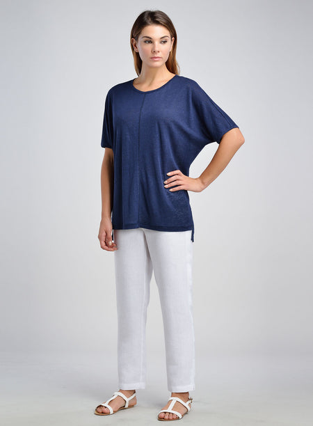 Linen Jersey Shoulder Trim Tee