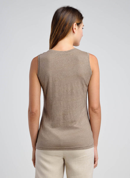 Linen Scooped Neck Jersey Cami