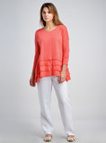 Linen jersey scooped neck tunic