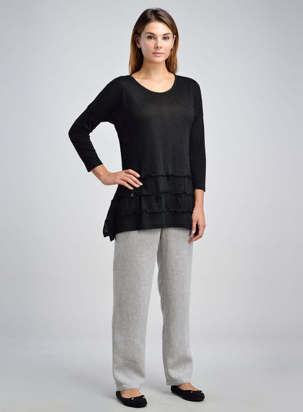 Black linen long sleeves top