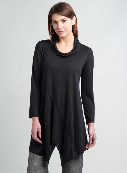 Black linen turtle neck long tunic