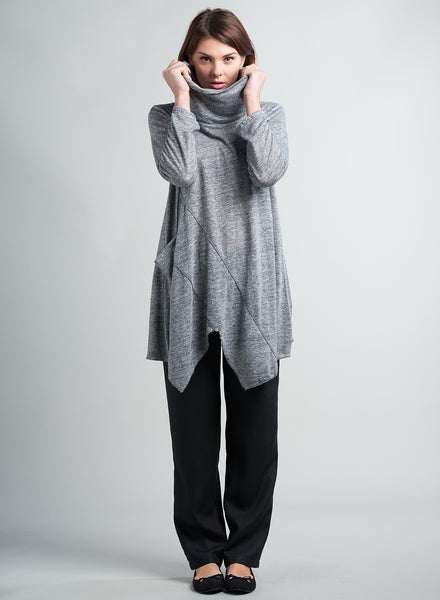 Soft cowl neck linen tunic