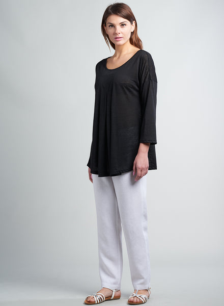Linen Jersey Drop Shoulder Pleated Top