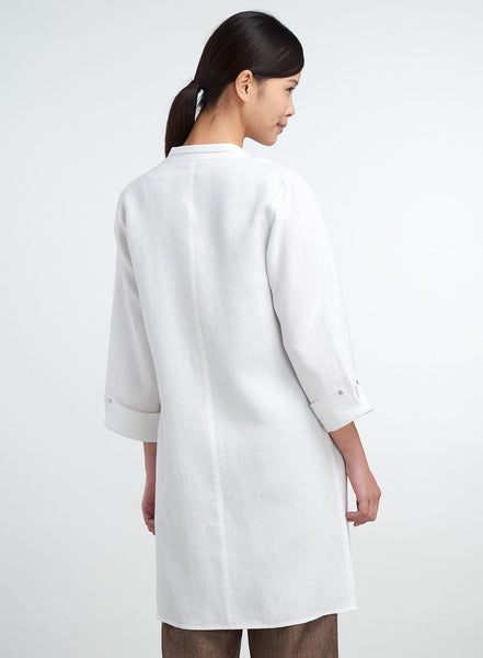 Linen Mandarin Double Collar Long Tunic
