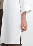 White linen long coat with Mandarin standing collar
