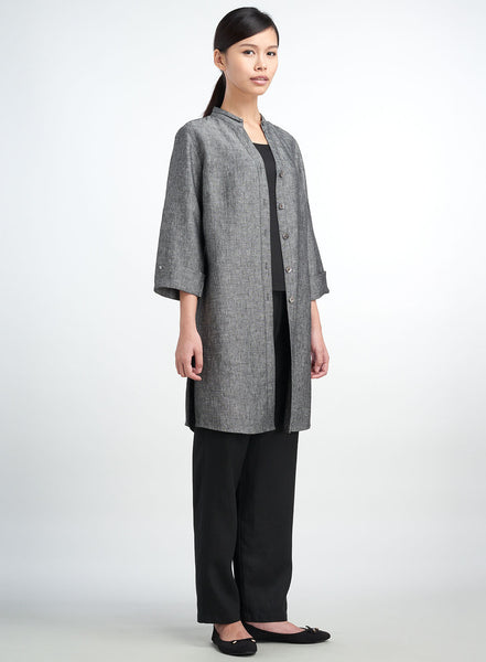 Long linen duster with three quarter sleeves