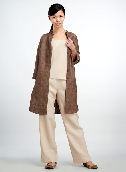 Two tone linen long jacket with high slit