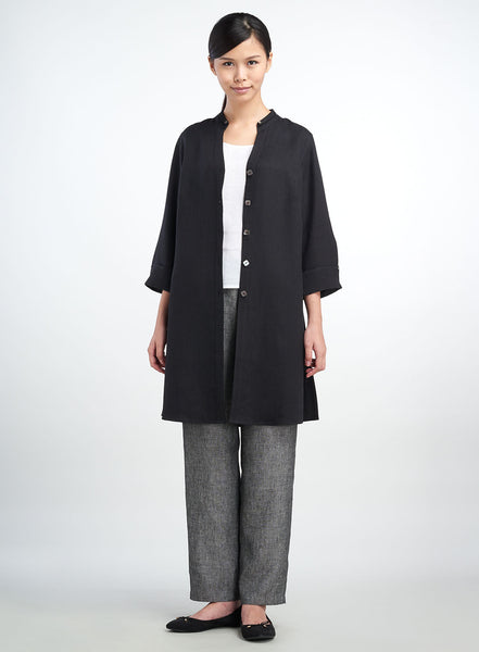 Long black linen jacket for working