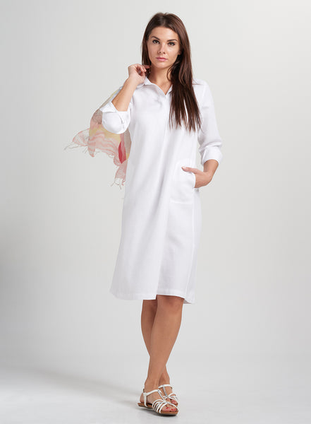 linen dress with shirt collar