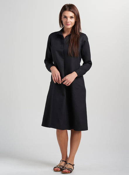 Work wear linen dress with collar