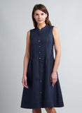 Linen Pin tucks Sleeveless Dress