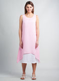 Linen Double Layer Asymmetric A-line Sleeveless Dress