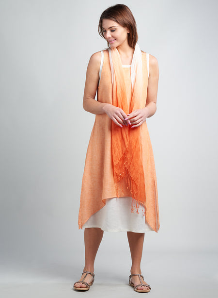 Linen Asymmetric Scoop Neck Sleeveless Dress