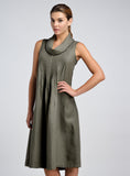Linen Twill Cowl Neck Pin Tucks Sleeveless Dress