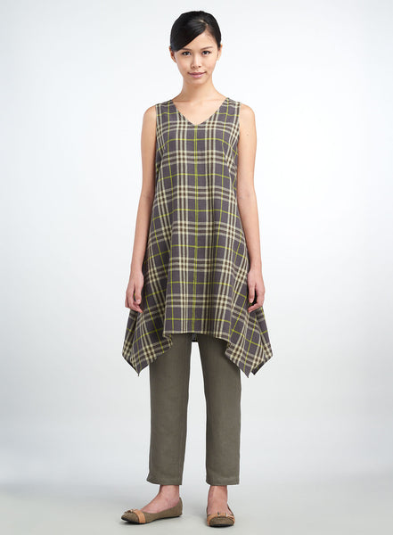Linen Check Sleeveless Long Tunic