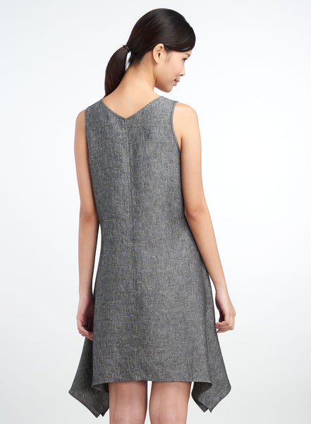 Linen Vintage Washed Shark Bit Hem Dress