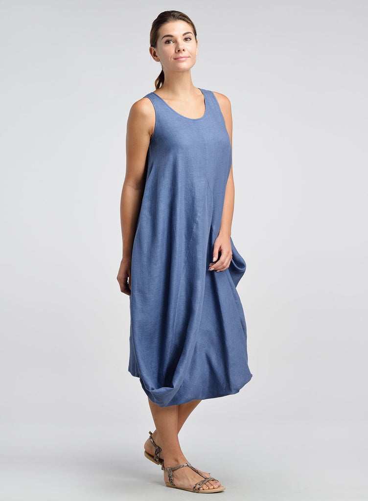 Fresh Women's Linen Dress - Linen Asymmetric Scoop Neck Sleeveless Dress  LY77