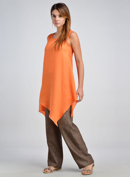 Linen Long Straight Leg Draw String Pants