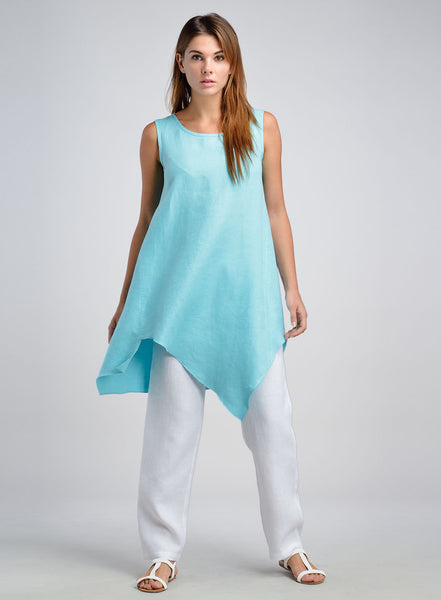 Asymmetrical hemline long tunic