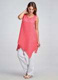 Sleeveless linen long tunic asymmetrical hem