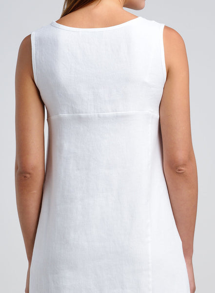 Linen Asymmetric Hem Sleeveless Tunic