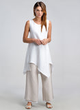 White sleeveless linen long duster