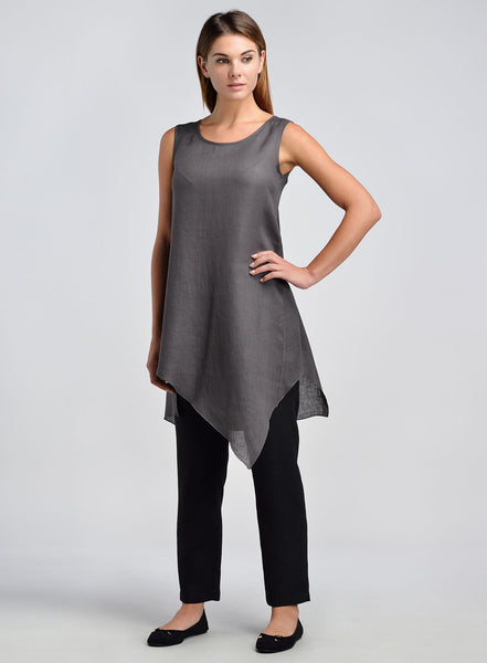Women linen long tunic with leggings