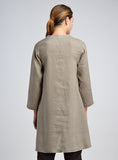 Linen Asymmetrical Grandad Waves Panel Tunic